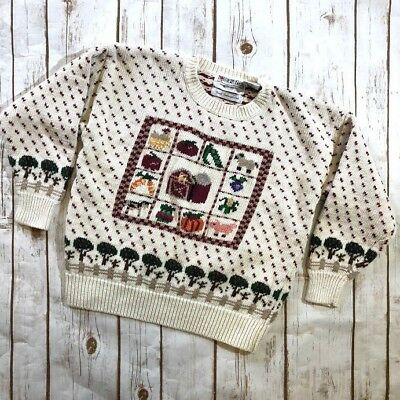 Northern Isles Farmyard Red Barn Knit Sweater Farm Animal Vegetables Child's 6X