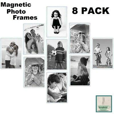 8 PK Refrigerator Magnetic Photo Picture Frames 4 x 6