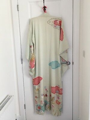 Antique Beautiful Large Vintage Silk Japanese Kimono Embroidered With Birds