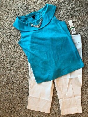 All New! Women's Outfit: (L) Top; 12 Capris; Necklace