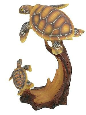 Sea Turtle With Baby Wood carving Look 8 and 1/2 inches tall
