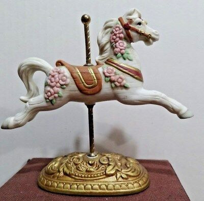 HOMCO A White Carousel Horse with Pink Roses   #1438