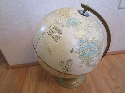 "Vintage Cram's Imperial 12"" Diameter World Globe With Metal Stand"