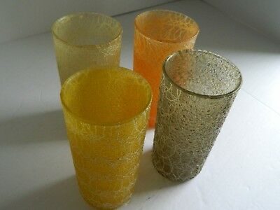Lot of 4 Vintage Spaghetti String Glass Tumbler Drinking Glasses 50's