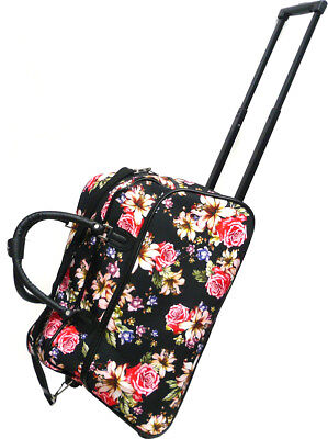"""Women's Rose Lily Print 21"""" Rolling Duffel Bag Suitcase Garment Carry-on Duffle"""