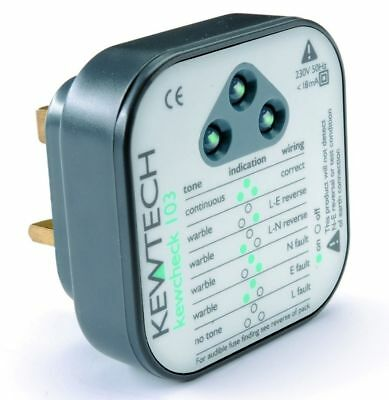 New Kewtech Kewcheck 103 Socket Tester Audible Tone & LED Indication
