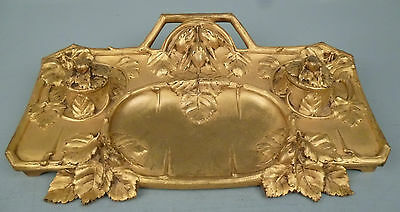 Old or Antique French Gilt Bronze Art Nouveau Inkwell - dore inkstand Desk BR
