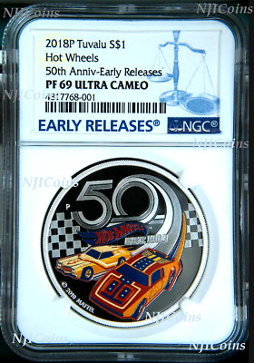 2018 HOT WHEELS 50th Anniversary SILVER PROOF $1 1oz COIN NGC PF69 UC ER