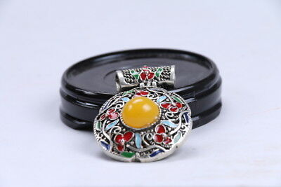 Old Decorated Handwork Miao Silver Carving Flower Inlay Zircon Pendant bb209sd