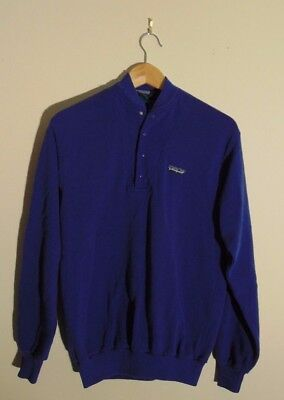 VTG Patagonia Mens M Button Sweater Long Sleeve Pullover Outerwear Blue 80s