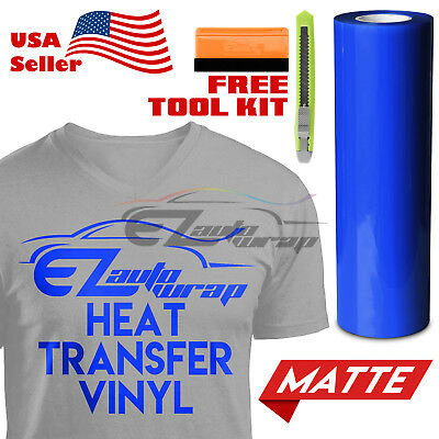 "Matte Blue Heat Transfer Vinyl HTV T-Shirt 20"" Wide Roll Iron On / Heat Press"