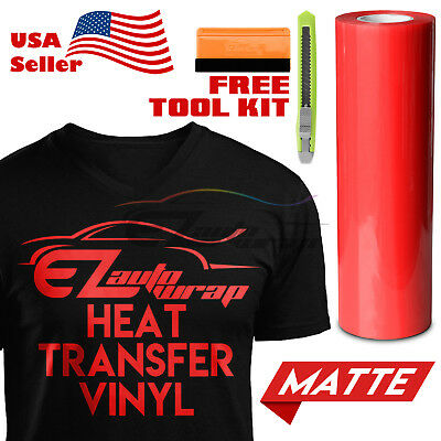 "Matte Red Heat Transfer Vinyl HTV T-Shirt 20"" Wide Roll Iron On / Heat Press"