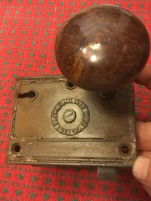 Antique Door lock/latch Knobs mortise hardware R&E Mfg co. Pat. Nov 15 1864