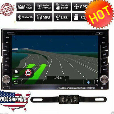 "6.2"" GPS Navigation HD Double 2 DIN Car Stereo DVD Player Bluetooth iPod MP3 MA"