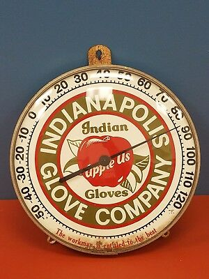 """Vintage 12"""" Bubble Advertising Thermometer Indianapolis Glove Co. Indian Gloves"""