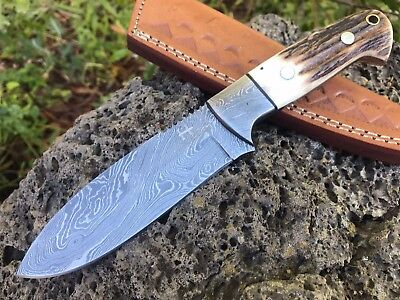 "HUNTEX Custom Handmade Damascus 8.7"" Long Full Tang Deer Antler Hunting Knife"