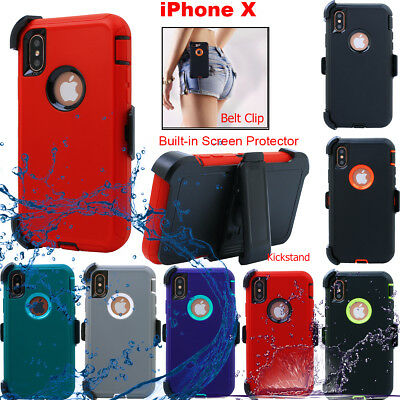 Hybrid Heavy Duty Cover For iPhone X Shockproof Hard Case w/ Belt Clip Holster