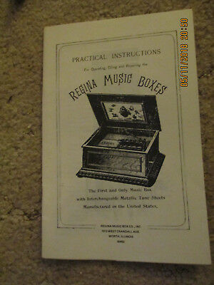 Regina Music Boxes Practical Instructions Operating, Oiling + Repairing Repro