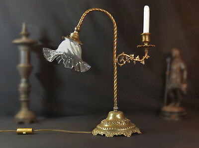 Victorian French Art & Crafts C-1880 barley twist student lamp Vaseline shade