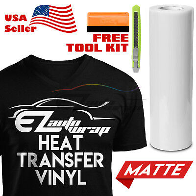 "Matte White Heat Transfer Vinyl HTV T-Shirt 20"" Wide Roll Iron On / Heat Press"