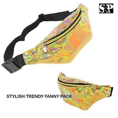 Hot Selling Iridescent Holographic Fanny Pack Gold Shiny Waist Bag Hip Sack