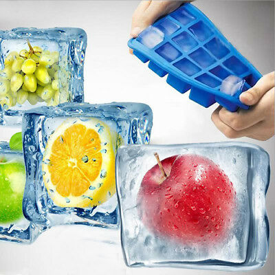 15-Cavity Square Cool Ice Cube Tray Maker Mold Mould Tray Jelly Kitchen DIY KEY