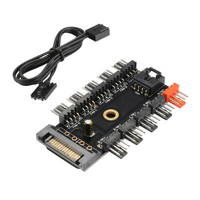 4Pin Fan Hub Speed Controller Support 10-Way SATA Power Supply for PC AC1312
