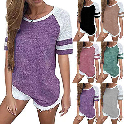 Plus Size 8-24 Women's Short Sleeve Tops Ladies Casual Loose Tee T Shirts Blouse