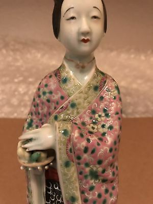 """12"""" tall antique Chinese famille porcelain figurine"""