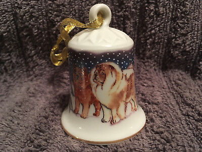 Porcelain Winter Design Bell with Dog - Chow Chow
