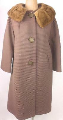 VINTAGE Mid century DARK TAUPE ribbed TEXTURED fur collar long COAT 16 18