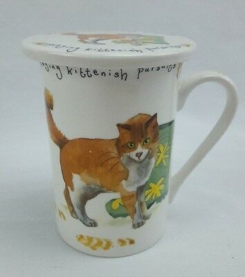 KENT POTTERY Cat Mug Cup w/ Lid Hiding in Muddy Boots Playing Kitten Porcelain