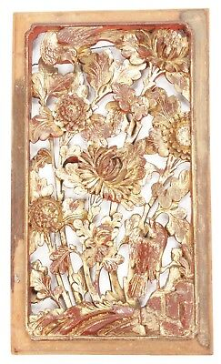 Antique Chinese Qing Carved Wood Panel Gold Gilt Birds Flowers Temple China Old