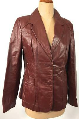 VINTAGE 70s BURGUNDY genuine LEATHER blazer style fitted JACKET