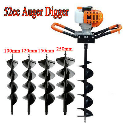 """52CC Gas Powered Post Hole Digger W/ 4"""" 5"""" 6"""" 10"""" Earth Auger Power Engine"""