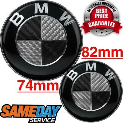 BMW Badge BLACK REAL CARBON FIBER SET Emblem Boot Bonnet 1 3 5 6 7 Z X E SERIES