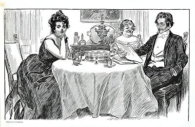"""""""A Quiet Dinner with Dr Bottles"""" - D/S Caricature by George du Maurier - 1900"""