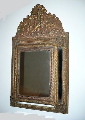 40% OFF CLEARANCE! ANTIQUE Ornate Brass FRENCH NAPOLEON  REPOUSSE CUSHION MIRROR