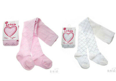 Baby Girls Tights White Pink Cream Diamond Tiny Hearts Christening Wedding 0-24M