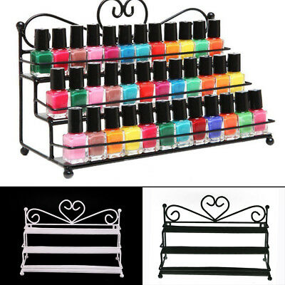 3-Tier Nail Polish Display Wall Rack Table Top Organizer Holder Black/White uk