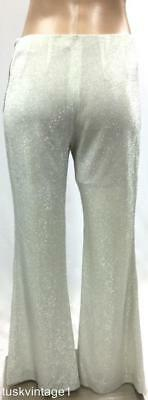 VINTAGE 60s SILVER LUREX glitter sparkle party HIPSTER 2 PIECE top PANTS set 6 8