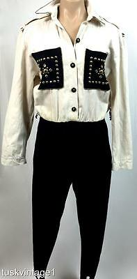 VINTAGE 80s CREAM black JEWELS beads COTTON shirt STIRRUP pants JUMPSUIT 10