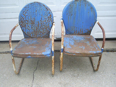 Vintage Pair Of Matching Metal Lawn Patio Chairs