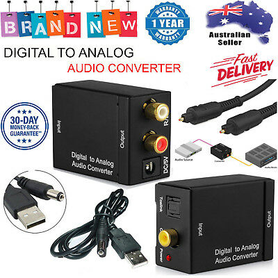 Digital Optical Coax Coaxial Toslink to Analog Audio Converter Cable Adapter RCA