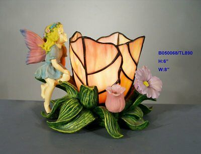 *last 1* Tiffany Style Stained Glass Leadlight Fairy  Table Lamp Night 4M1