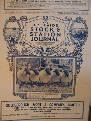 The Adelaide Stock and Station Journal Sept 1936. Whittingslowe ad, Ephemera .