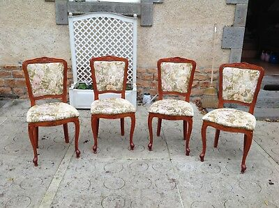 Set of 4 French vintage Louis Philippe style cherrywood chairs.