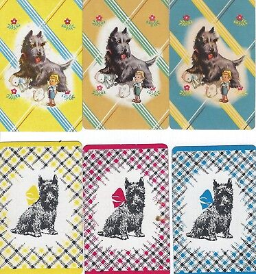6 VINTAGE SCOTTY TERRIER dog BLANK BACK SWAP trading CARD Stylized Tartan