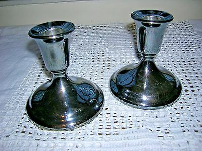 """International Silver Co Pair of Heavy Silver Plated Candlesticks EUC 3.75"""""""