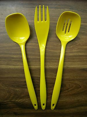 Lot of 3 Vtg Melamine Ware Kitchen Utensils Yellow Spoons & Fork Taiwan EUC